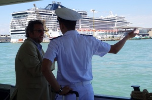 The huge ship in the background is the MSC Fantasia, docked in the Maritime Stationon the west side of Venice.
